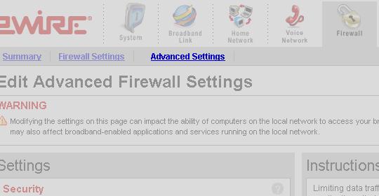 application layer gateway settings arris
